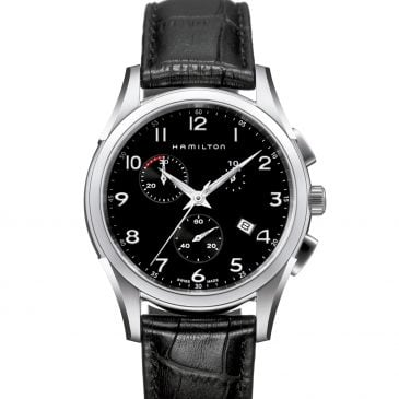 hamilton jazzmaster thinline chrono quartz 43 cuero negro 1