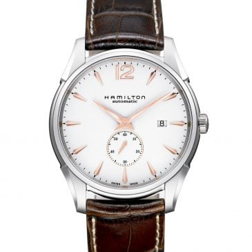 hamilton jazzmaster small second auto 43 cuero marrón 1
