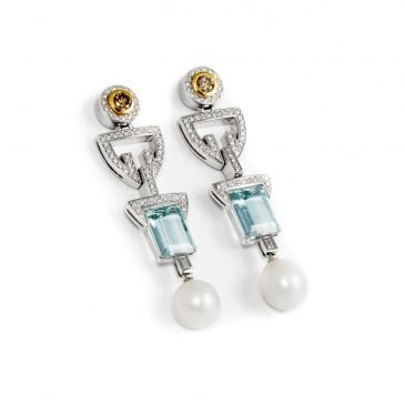 pendientes aguamarinas y perlas australianas