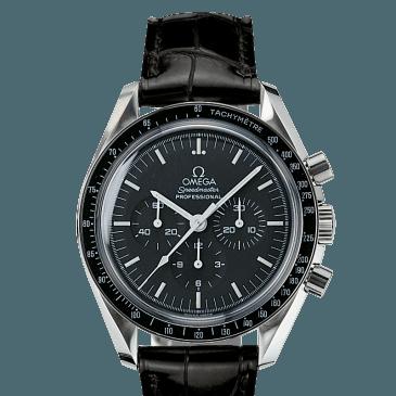omega Speedmaster Moonwatch 42 schwarz leder 1