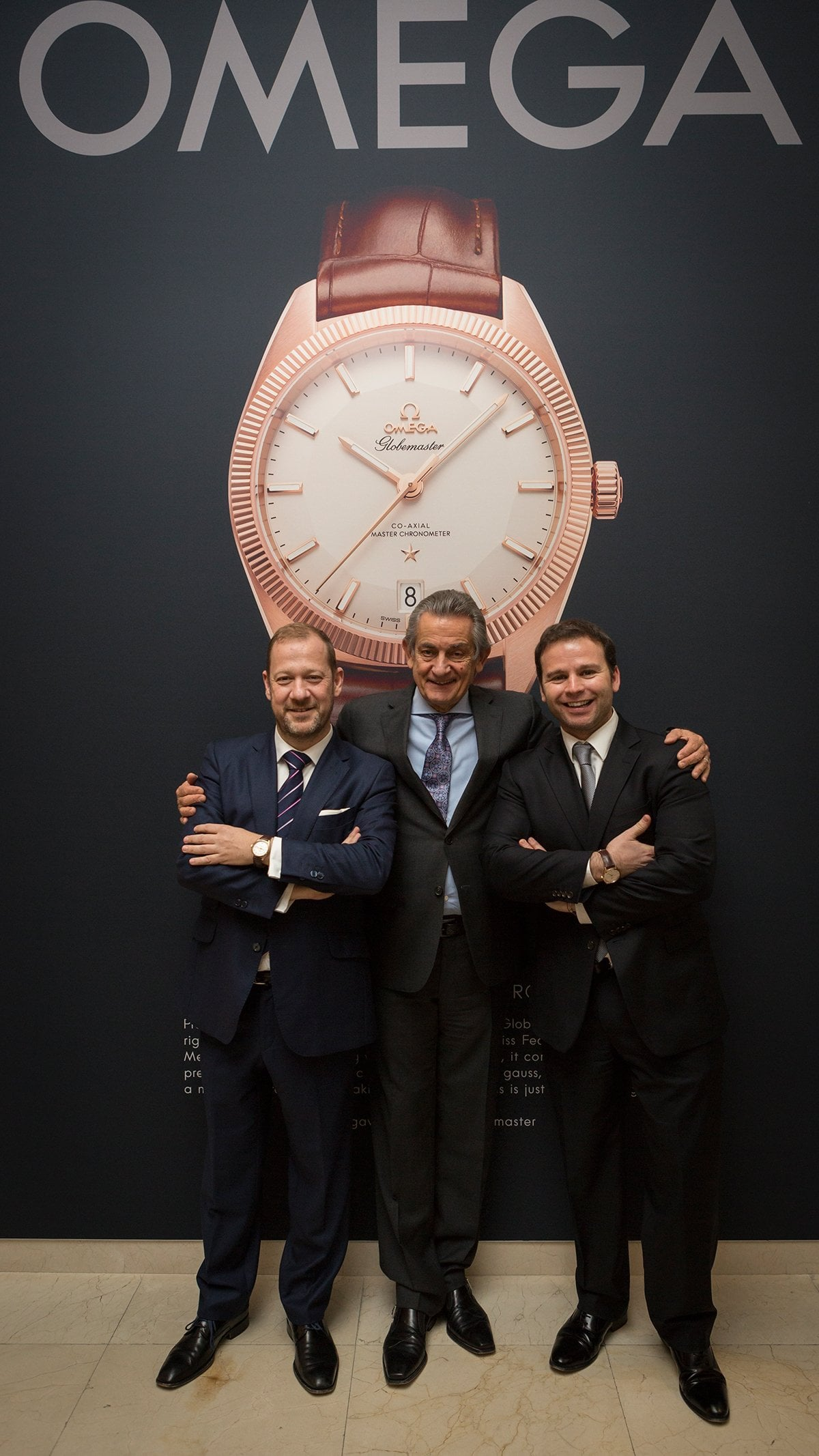 Gonzalo de Cevallos Director General de THe Swatch Group España, Stephen Urquhart presidente de Omega y Daniel casas Director de Omega España