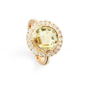 anillo oro osa cuarzo limón y brillantes