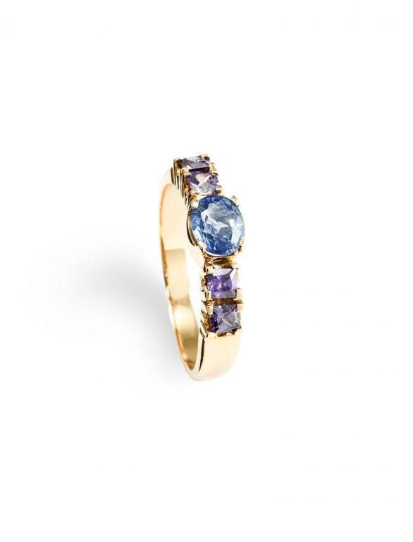 anillo oro rosa zafiro y amatistas