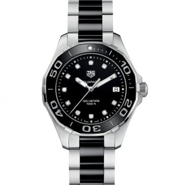 aquaracer lady 300m black ceramic diamonds 2
