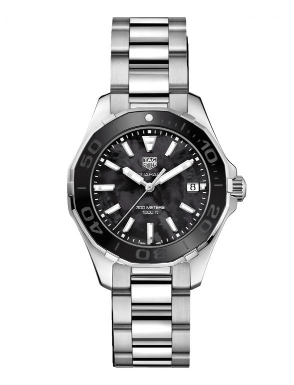 tag heuer aquaracer quartz 300m 35mm, black nacar dial 2