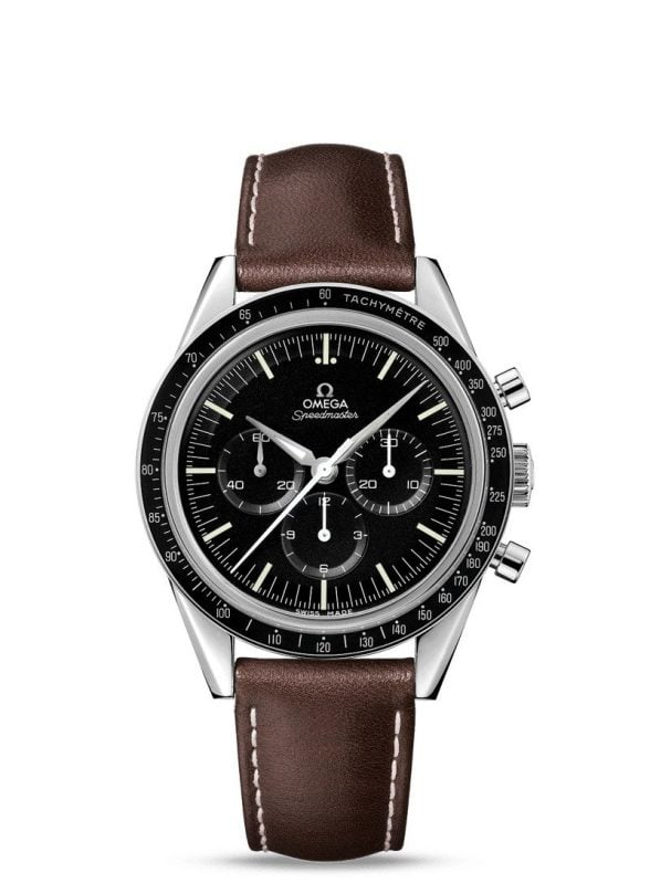omega speedmaster moonwatch 42 piel marrón