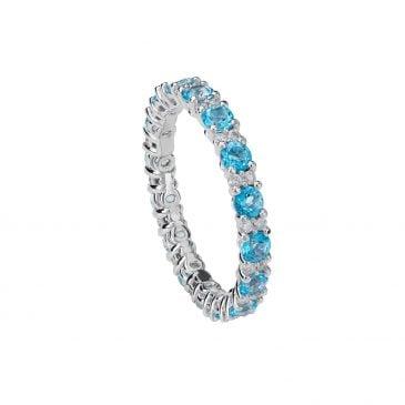 anillo topacio azul hielo y diamantes