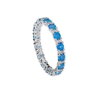 anillo topacio azul y diamantes