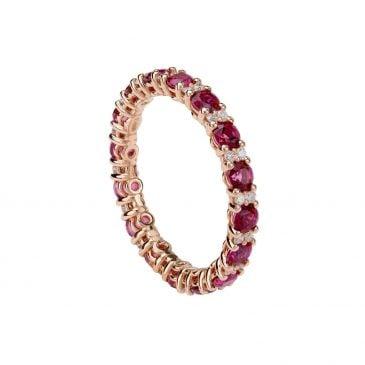 anillo topacio rojo y diamantes