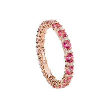 anillo topacio rosa y diamantes