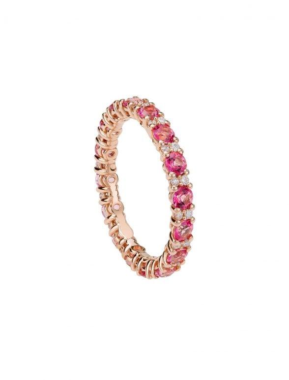 anillo topacio rosa y diamantes