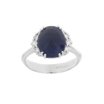 anillo zafiro azul y diamantes