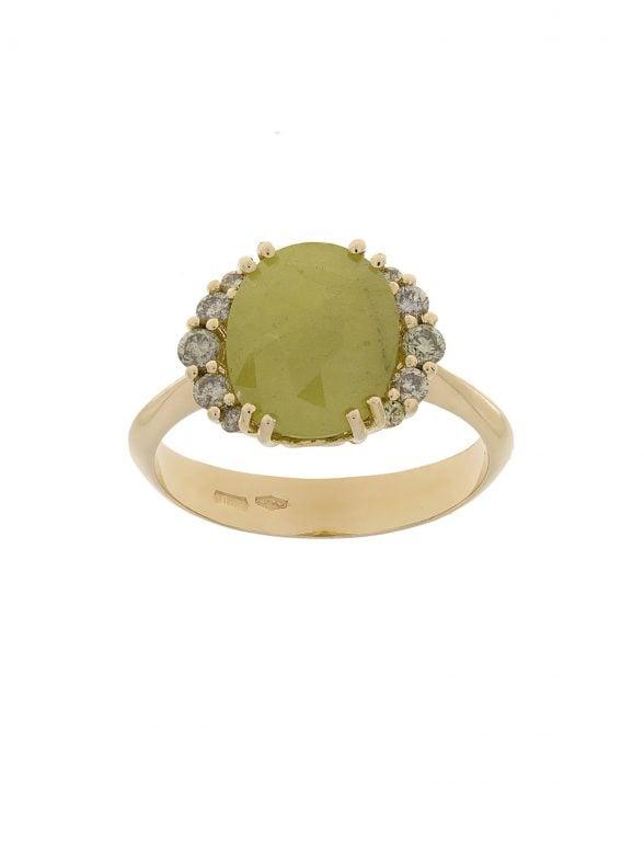 anillo zafiro verde y diamantes
