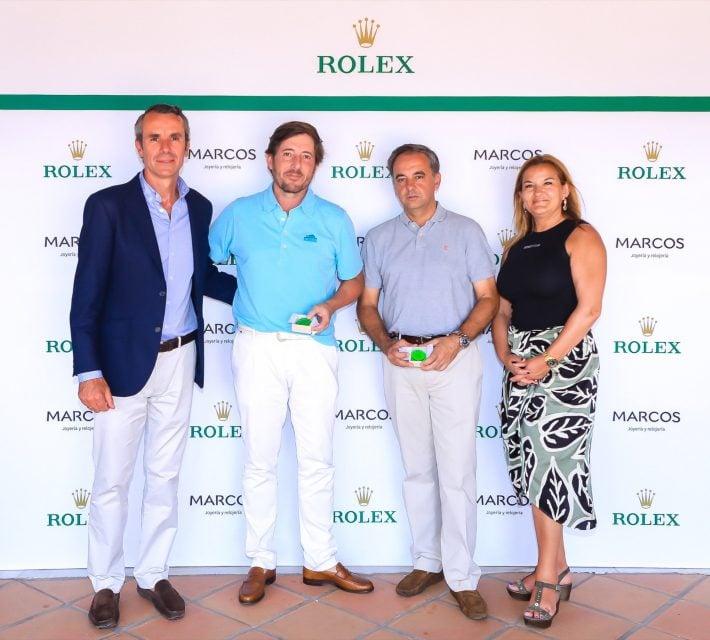 Aurelio Marcos director de Joyería Marcos, Jacobo Cestino ganador de scratch, Juan Antonio Guitart ganador de Hándicap y Marisa Arquero de Rolex