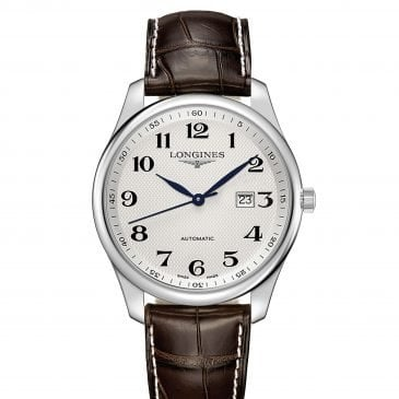 longines master collection 42 steel leather date 1