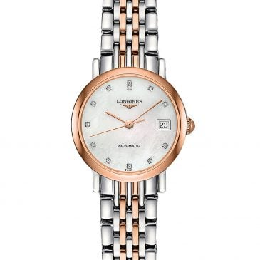 longines elegant collection 25 acero/oro rosa esfera perla/diamantes