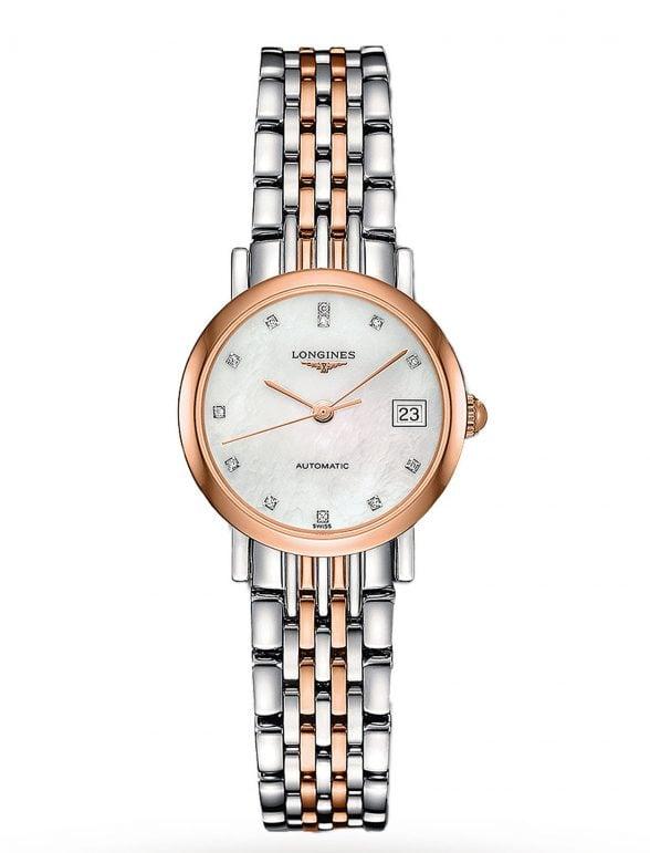 longines elegant collection 25 acero/oro rosa esfera perla/diamantes