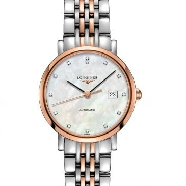 longines elegant collection 29 acero/oro rosa esfera nácar/diamantes