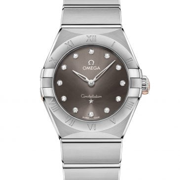 omega constellation manhattan 28 acero esfera gris/diamante