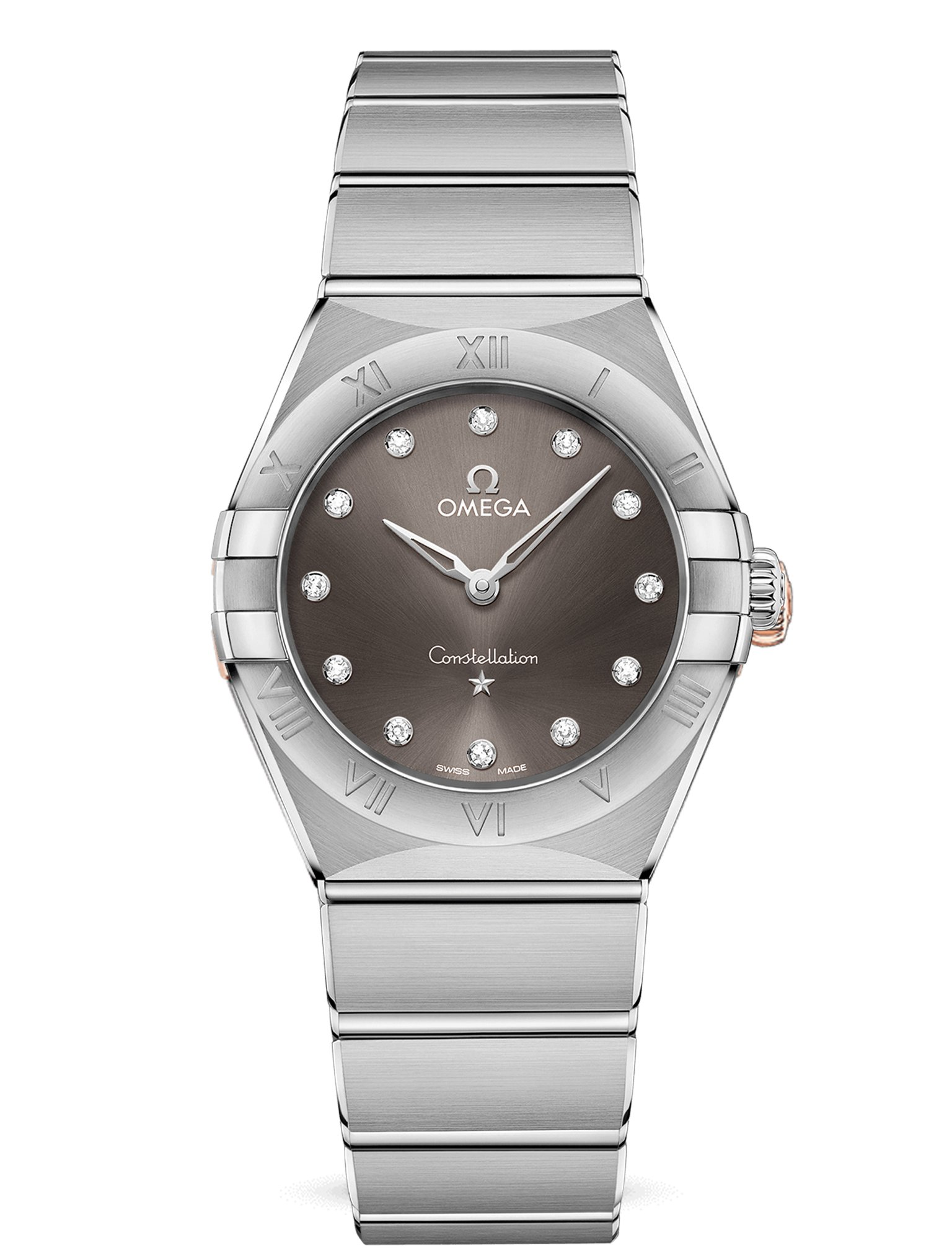 3b41b13691e3 Omega Constellation Manhattan 28 Acero-Esfera gris/Diamante