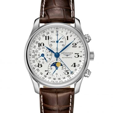 longines master collection fase lunar 40 acero piel