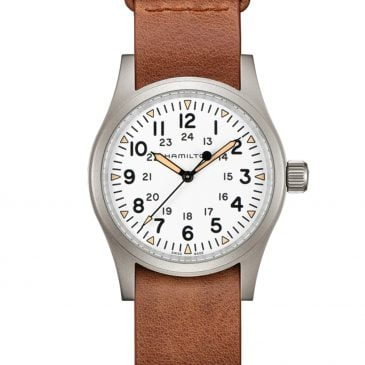 hamilton khaki field mechanical 38 esfera blanca