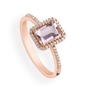 anillo morganita y diamantes