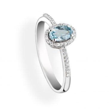 anillo aguamarina y diamantes