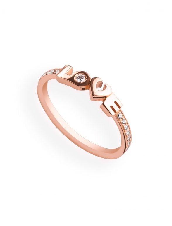 anillo oro rosa y diamantes love