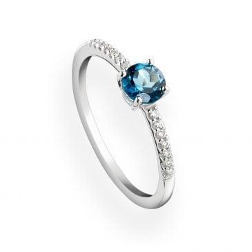 anillo topacio london blue y diamantes