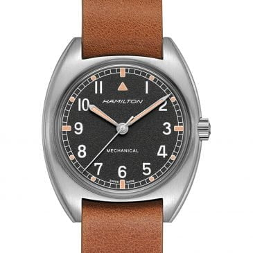 hamilton khaki pilot pioneer mechanical piel marrón