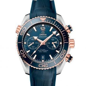 omega seamaster planet ocean 600m acero y oro 45,5 mm azul piel