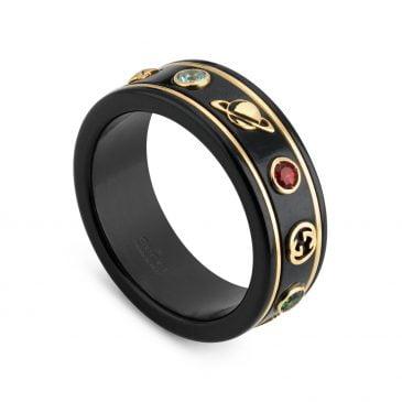 gucci anillo icon con gemas negro