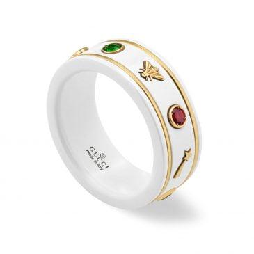 gucci anillo icon con gemas blanco