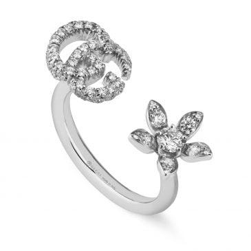 gucci anillo de flor y doble g con diamantes