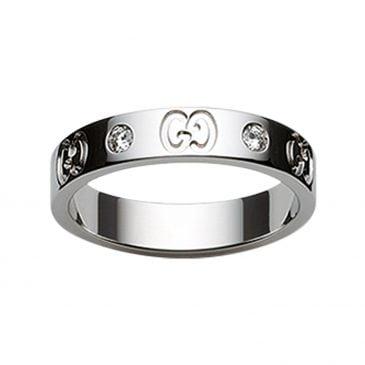 gucci anillo de icono oro blanco con diamantes