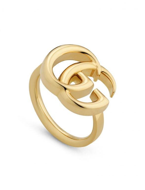 gucci anillo doble g de oro amarillo 17 mm x 14 mm