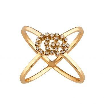 gucci anillo en forma de x gg running con diamantes