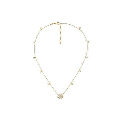 collar doble g con diamantes