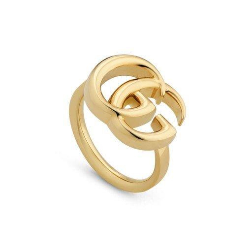 anillo doble g de oro amarillo