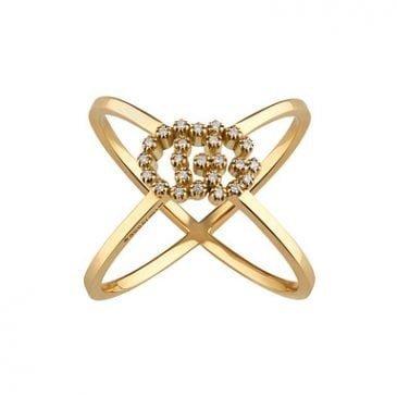 anillo en forma de x gg running con diamantes