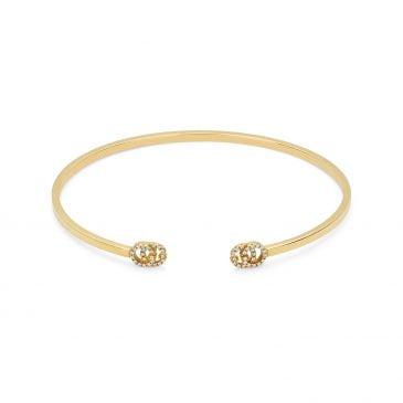 gucci brazalete doble g de oro amarillo con diamantes