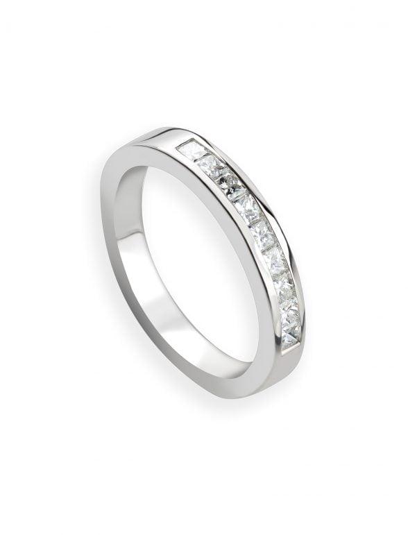 anillo oro blanco y diamantes talla princesa