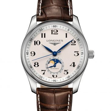 longines master collection fase lunar 40 acero piel marrón