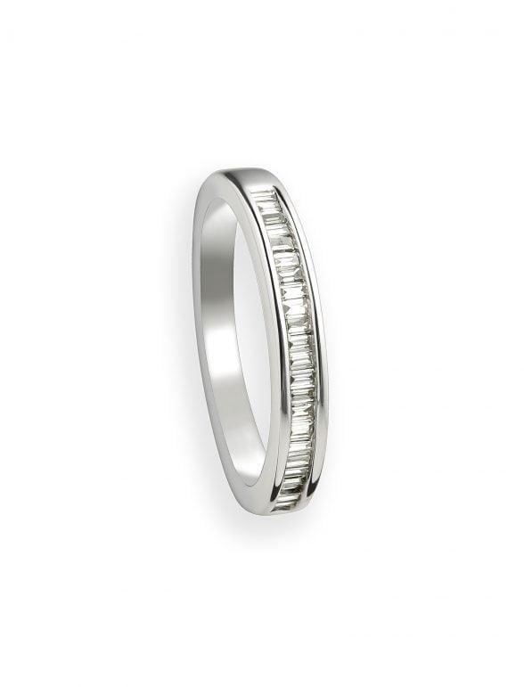 anillo oro blanco y diamantes talla baguette