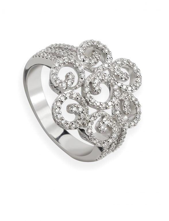 anillo oro blanco con diamantes fantasía