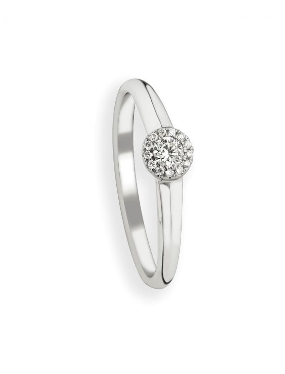 anillo redondo de oro blanco y diamantes
