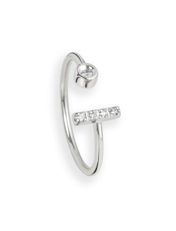 anillo de oro blanco y diamantes asimétrico