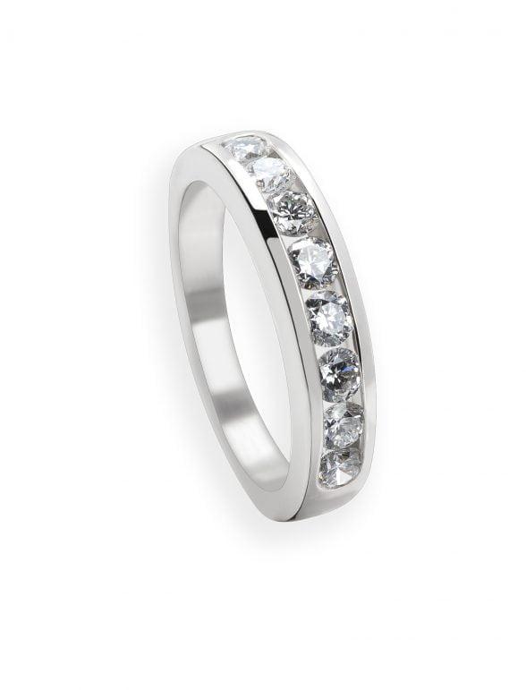 anillo cintillo oro blanco y diamantes talla brillante