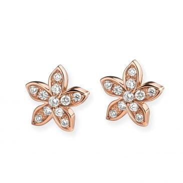 pendientes flor oro rosa y diamantes
